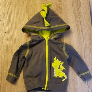 Carter's Baby Dragon Hoodie Grey and Green